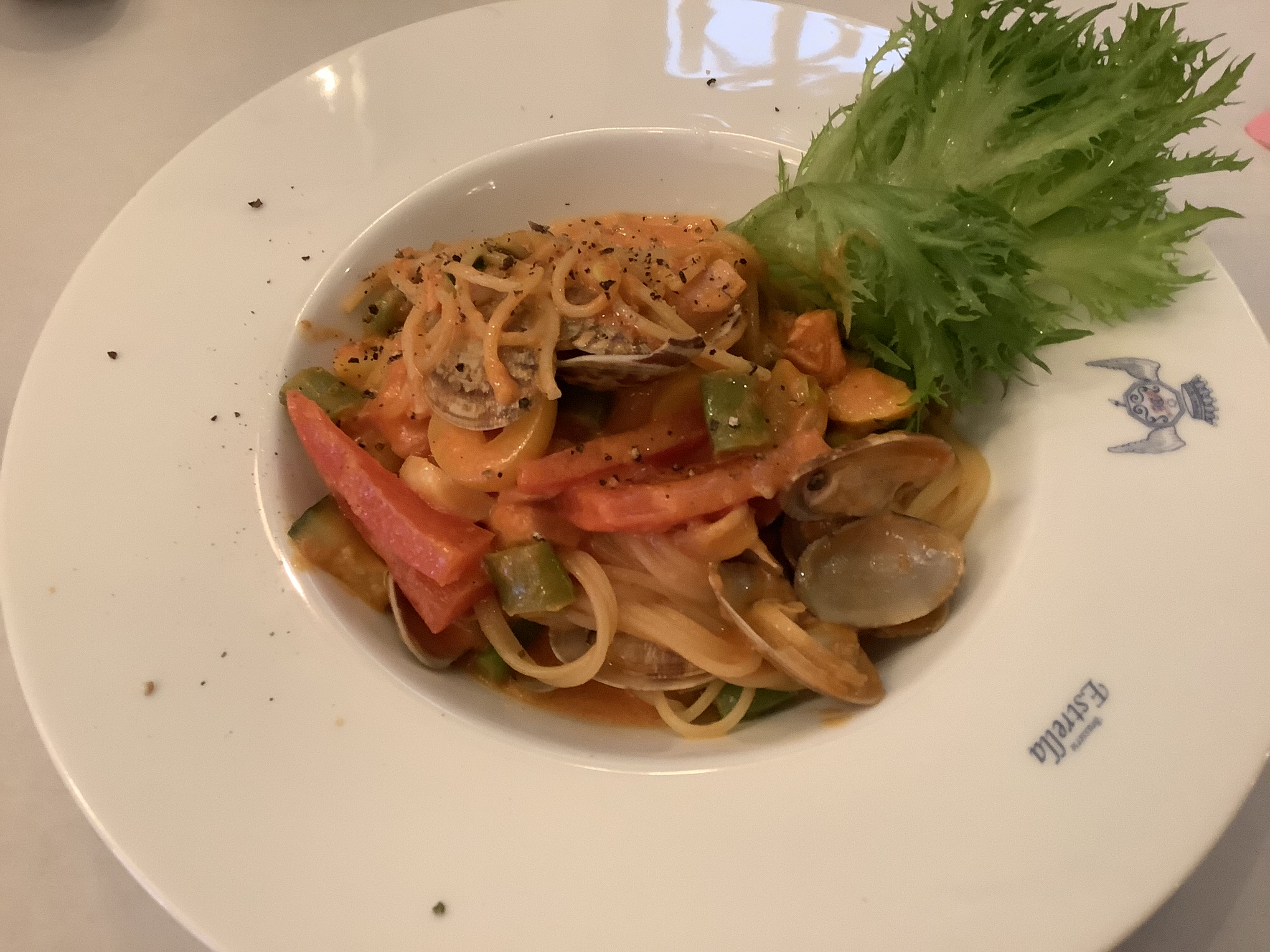 Pasta with Clam, Salmon and Vegetables