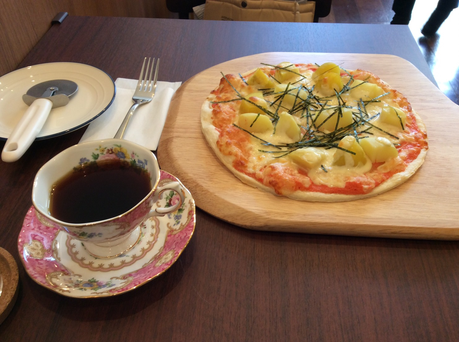 coffee and potato pizza