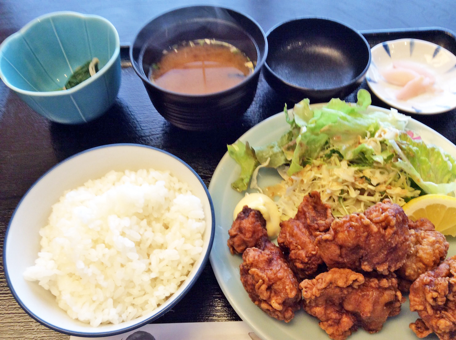 Deep fried chicken lunch set