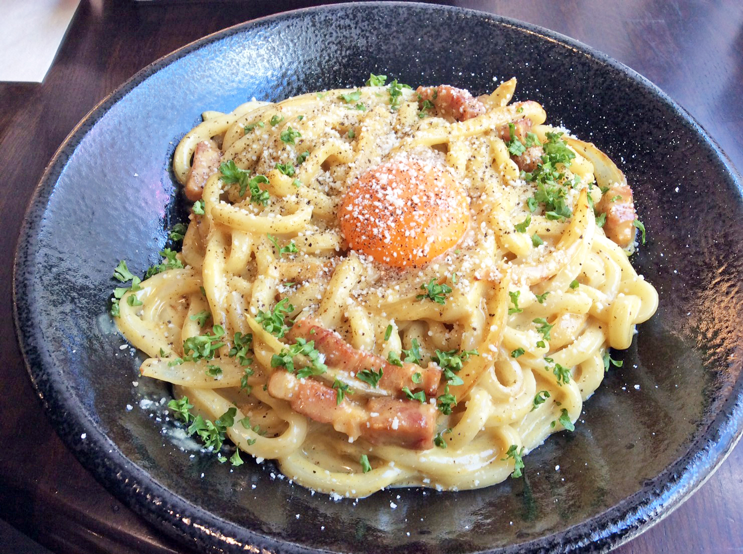 Japanese Dashi flavored curry carbonara Udon